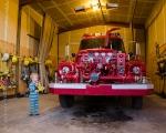 Preparing for birthday fire engine ride