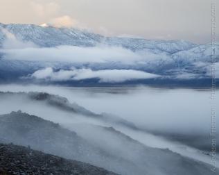 Fog building around Deep Springs Lake