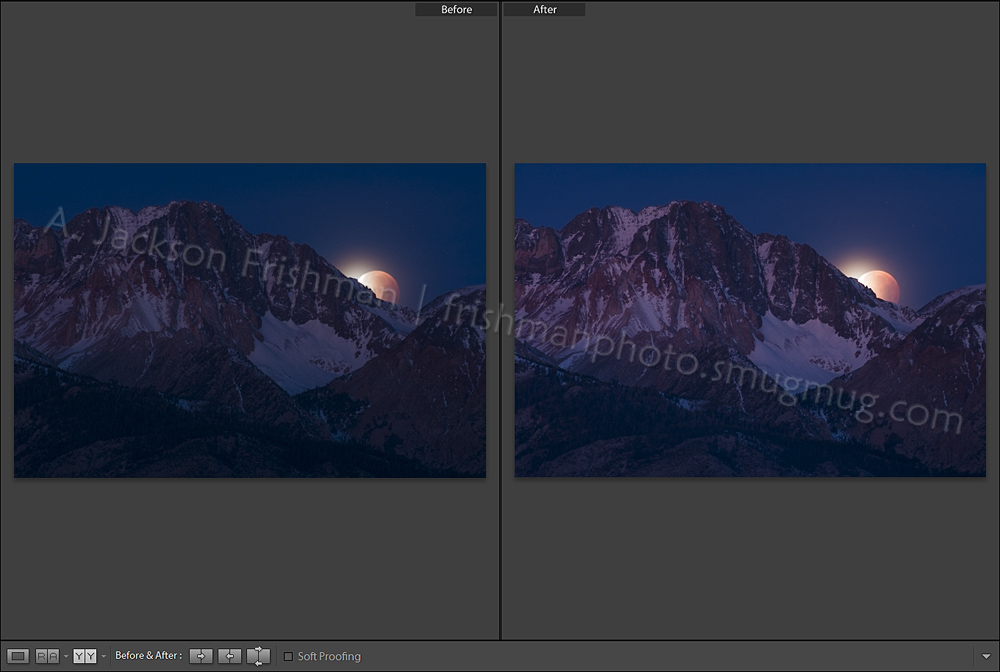 Split Mountain Lunar Eclipse Before and After