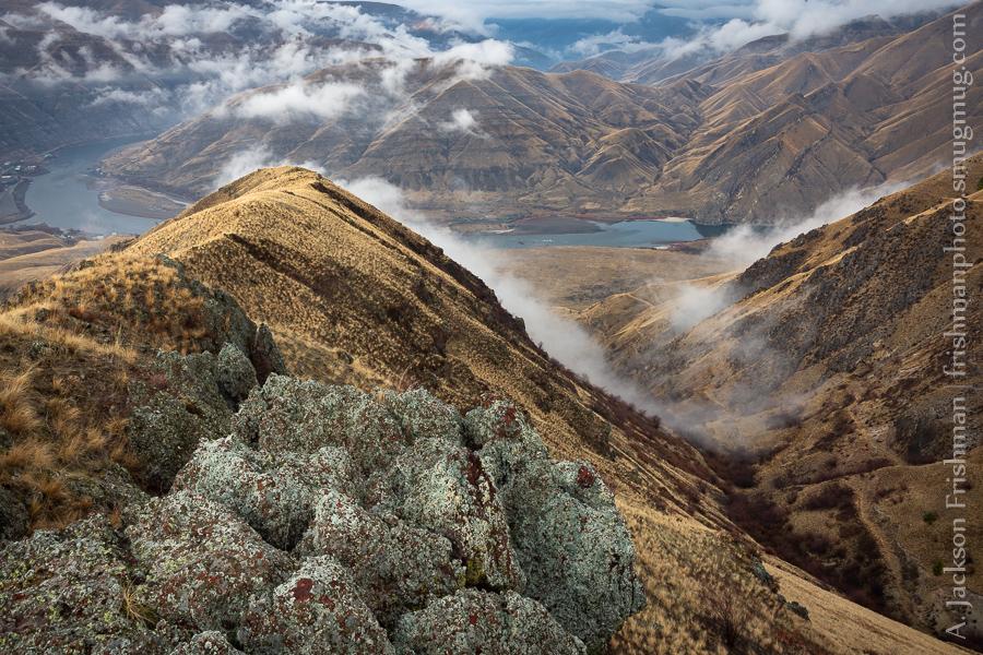 Ravine, Outcrop, Mist